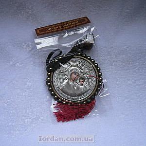 Кулон в авто круглый риза Казанская серебро