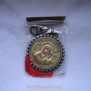 Кулон в авто круглый риза Казанская золото