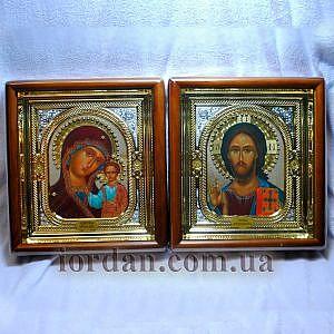 Икона Б. М. Казанская и Г-дь Вседержитель 17х24 с объемной ризой
