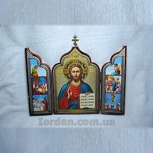 Спаситель  складень тройной флок с крестом