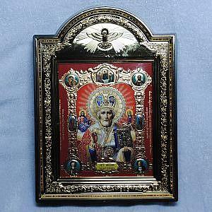 Икона c подставкой 10х12 св. Николай красный лик