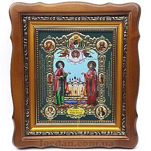 Фигурный киот Петр и Феврония 15х18