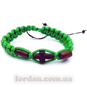 Браслет самшитовый крест Зеленый