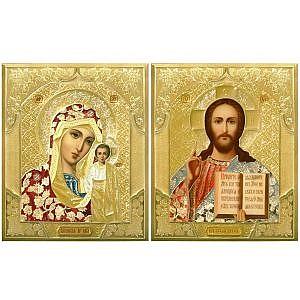 Казанская Б.М. и Спаситель Софрино Цветные Литография 15х18