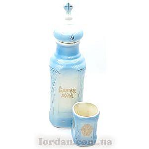 Бутылка и стакан голубой с желтым 26 см Г