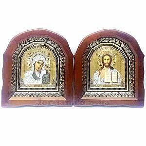 Икона Б. М. Казанская и Г-дь Вседержитель 10х12 арочная