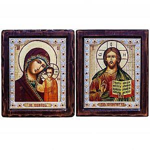 Казанская П.Б. и Спаситель Риза Византия 17х20